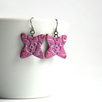 Pink Faux Ceramics Earrings from Polymer Clay