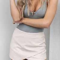 The Life Tan Leather Envelope Skort