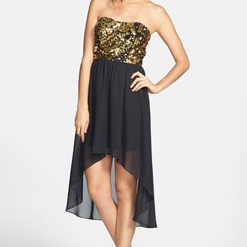 Hailey Logan Sequin Bodice High/Low Dress (Juniors) (Online Only)