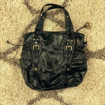 PEAPOK9 MICHAEL KORS MK PATENT LEATHER SHOULDER BAG BLACK STRAP SIGNATURE TOTE HANDBAG
