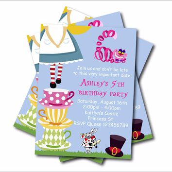 20 pcs/lot Alice in Wonderland Birthday Party Invitation Vintage Wonderland Baby Shower Invites Birthday party decoration supply