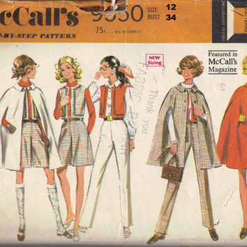 McCall's 60s Sewing Pattern Retro Fashion Poncho Cape Culottes Fitted Pants Spring Jacket Raincoat Bust 34