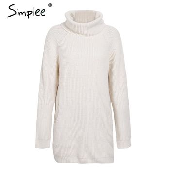 Simplee Turtleneck knitted sweater women Casual loose long sweater pullover female Winter oversize pull knit jumper autumn 2017