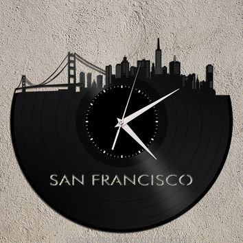 San Francisco Clock San Francisco Skyline Bay Area Golden Gate Bridge Art California Wall Decor Retro Vinyl Cityscape Art Clock Gift Idea