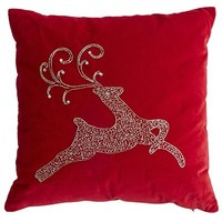 Red Beaded Reindeer Pillow
