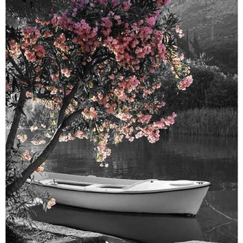 Boat Under the Spring Blossoms Art Print