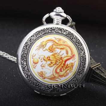 NEW Vintage Silver China Dragon Play Ball Pattern Pocket Watch White Dial Men Lady Quartz Watch Pendant FOB Chain Best Gift P358
