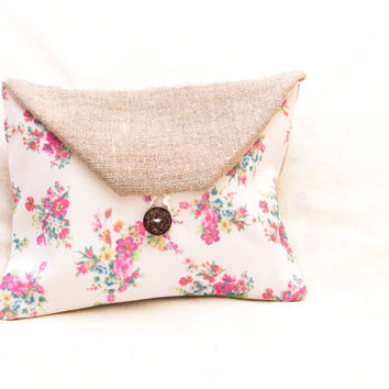 Small Clutch Purse, Rustic Style with a Floral Pattern, Clutch Wallet, Cell Phone Purse, Small Clutch Bag, Burlap Clutch
