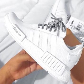 the best attitude bcc19 57f42 Adidas NMD R1 White Running Sport Casual Shoes Sneakers