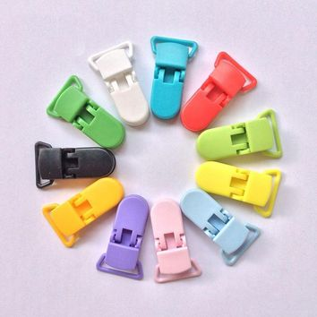 10Pcs Plastic Pacifier Clip Holder Soother Mam Infant Dummy Clips Chain For 20mm Ribbon Toddler Transparent Clip For Baby