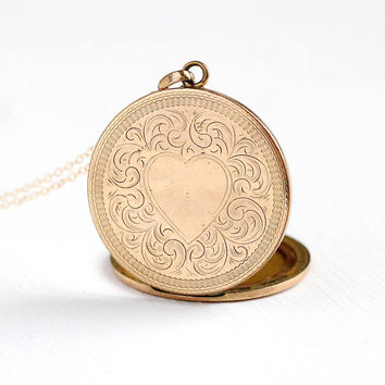 Etched Heart Locket - Antique 10k Rosy Yellow Gold Filled Large Pendant Necklace - Vintage 1900s Edwardian Photograph Chased Designs Jewelry