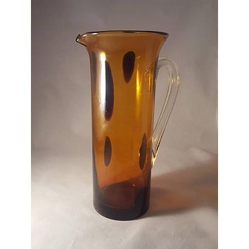 Artisan Amber Hand Blown Pitcher