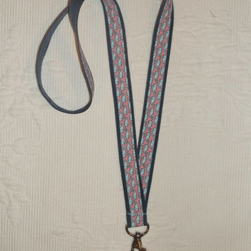 Preppy Pink Vineyard Vines Whales Fabric Ribbon Lanyard