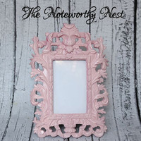 Ornate frame // ornate picture frame// Unique frame // 3x5 Frame // Resin Frame // Pastel Pink Frame // bedroom decor // Pink Decor