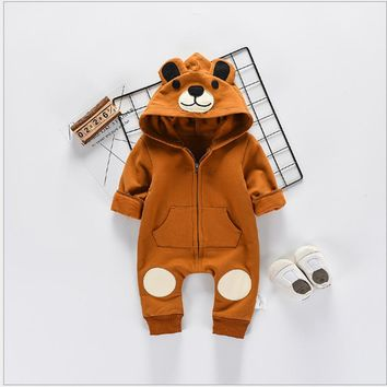 Baby Bodysuits Clothes 2018 New Fashion Cute Animal Bear Baby One-Pieces Body Wool Hooded Newborn Baby Bodysuits Clothing Bo047