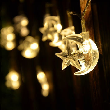 Moon Star LED Battery Operated Boho String Lights