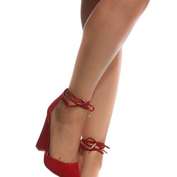 Red Faux Suede Chunky Pointed Toe Heels @ Cicihot Heel Shoes online store sales:Stiletto Heel Shoes,High Heel Pumps,Womens High Heel Shoes,Prom Shoes,Summer Shoes,Spring Shoes,Spool Heel,Womens Dress Shoes