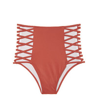 High Waist Strappy Bikini Bottom - PINK - Victoria's Secret