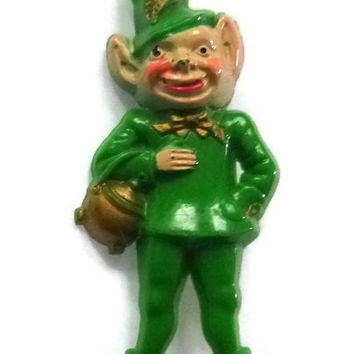 Vintage Leprochaun Brooch Early Plastic St Patricks Day Thermoset Pin Kitsch Jewelry Lucky Irish Pot of Gold Green Gnome Elf Good Luck Gift