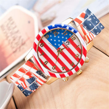 Womens Girls America Print Outdoor Sports Silicone Strap Watch Best Christmas Gift 379