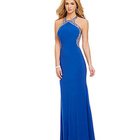 Blondie Nites High Neckline Beaded Trim Gown | Dillards.com