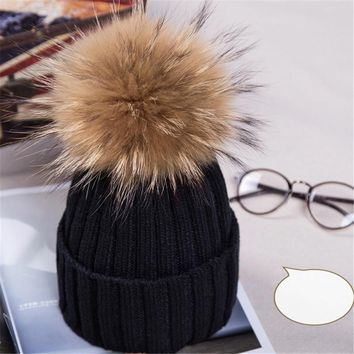 Promotions women 100% real raccoon fur pompon winter hats adult beanies crochet wool pom pom fur ball winter knitted hat caps