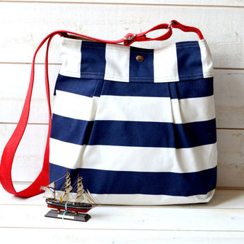 WATER PROOF Diaper bag Stripes Canvas   Stockholm Navy by ikabags