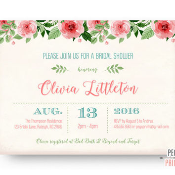 Floral Bridal Shower Invitation - Shabby Chic Bridal Shower Invitation Printable - Floral Wedding Shower Invitation - Printable or Printed