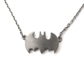 Batman Logo Bat Shaped Silhouette Symbol Charm Necklace in Dark Silver