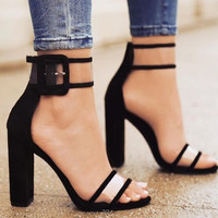 Size 35-43 Fashion Women Sandals Summer Thick Heel High Heels Shoes Sexy Transparent Clear Sandalias Mujer Peep Toe Pumps
