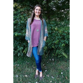 Ash Grey Knitted Long Cardigan Sweater with Pockets