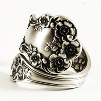 Buttercup Floral Sterling Silver Spoon Ring Gorham pattern of 1899, Sterling Silver, Handmade & Adjustable to Your Size (3874)