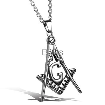 SHIPS FROM USA 2017 New 316L Stainless Steel Masonic Pendant Necklace Men Punk Necklaces 55cm Chain High Quality Freemason Jewelry Biliss