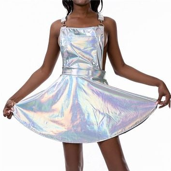 Iridescent Holographic Overall Vinyl Dress (8 Colors)