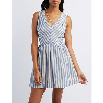 Striped Cotton Skater Dress