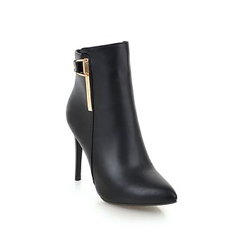 Pointed Toe High Heel Ankle Boots Stiletto Heel Shoes 5901