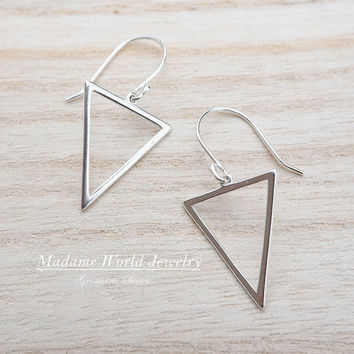 Sterling Silver Triangle Earrings, Geometric Earrings, Inverted Triangle Earrings Triangle Dangle Earrings, Simple Geometric Earrings
