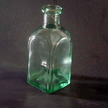 Charming Antique Green Bottle, ca 1920-30s, Vintage Collectible Glass