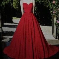 Elegant Lace Sweetheart Red Prom Dresses Long, Sweetheart RedEvening Dresses