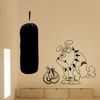 Wall Decal Dog Boxer Gloves Gym Vinyl Sticker Wall Decor Home Interior Design Art Murals U183