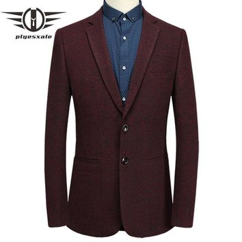 Casual Blazers Man Slim Fit Two Buttons Men Burgundy Blazer Male Business Suit Jacket