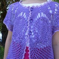 Bolero for girl,crochet knitted Bolero,lace Bolero,Bolero cotton,purple Bolero,Bolero for dresses