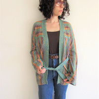Vintage Hippie Boho Multi Color Striped Bell Sleeve Cardigan Sweater