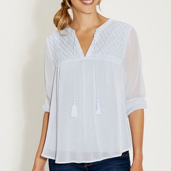 peasant top with beaded and embroidered yoke