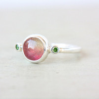 Watermelon Tourmaline & Green Diamonds Ring Sterling Silver Watermelon Tourmaline Diamonds Engagement Gemstone Engagement Ring Size 7-7.5