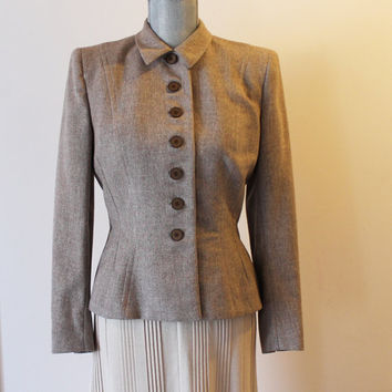 Vintage 1950s British Tweed Tailored by Handmacher Filene's Brown Button Up Jacket