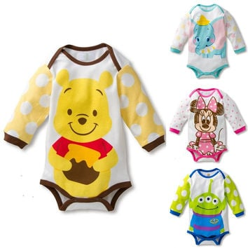 Summer Baby Boys Girls Rompers Cute Cartoon Long Sleeve Baby Animal Jumpsuit Newborn Infant Baby T-Shirt Climbing Clothes
