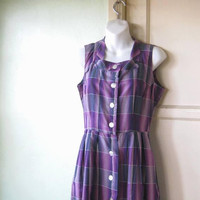 Vintage 1950s Purple Plaid Dress; Women's Small Shadow Plaid Cotton Sleeveless Dress w/ Big Buttons; School/Work/Social/Rockabilly