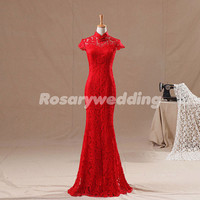 Attactive red cap sleeves mermaid lace prom dress