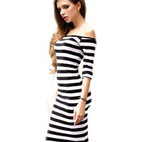 Sexy Off The Shoulder Knee Length Strapless Stripe Dresses